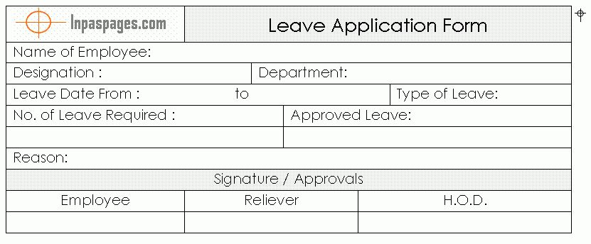 Format Of Leave Form Leave Application Form Template Free - leave application form for employee