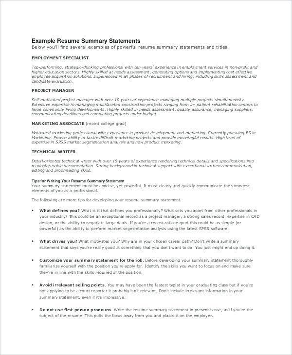 Sample Overview For Resume Resume Summary Examples Executive - job summary examples for resumes