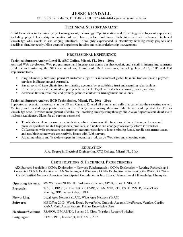 Technical Support Analyst Resume Example - Examples of Resumes