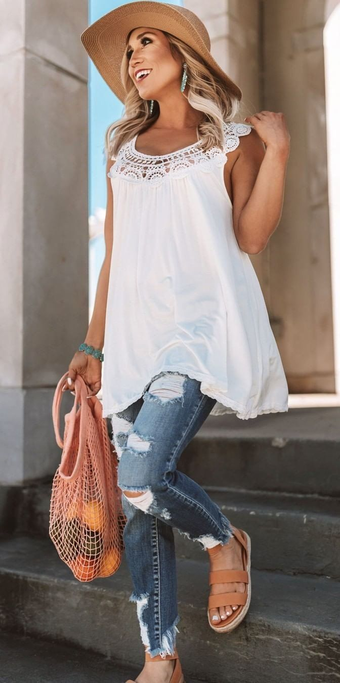 distressed blue slim jeans #spring #outfits