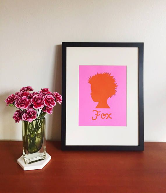 brightly-colored custom child silhouette (with hand-cut lettering) by ADELAIDE MILLS.