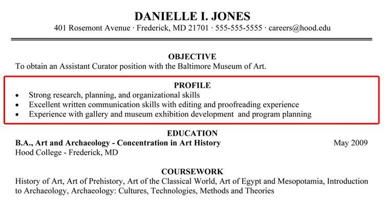 Profile Example For Resume How To Write A Professional Profile