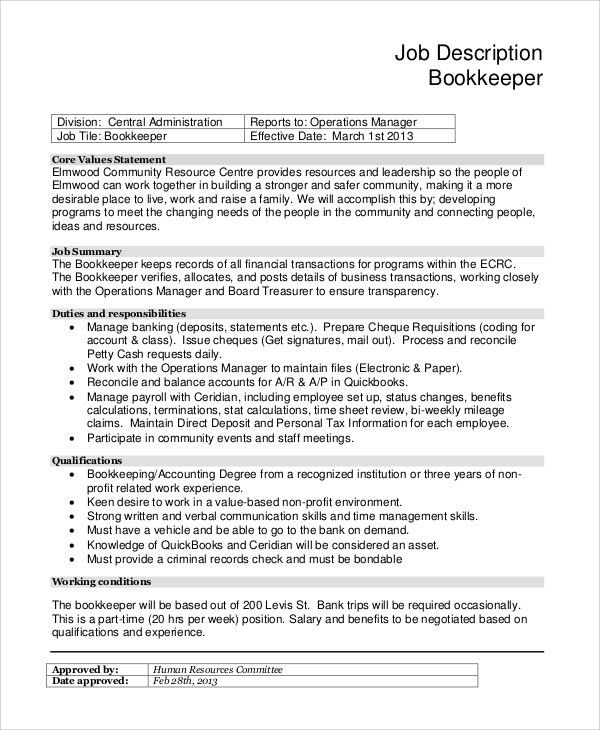 church bookkeeper job description pspc job description how to