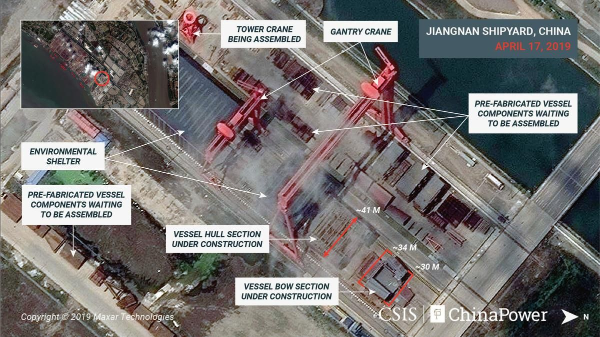 Construction of China's first full-sized aircraft carrier is well under way…