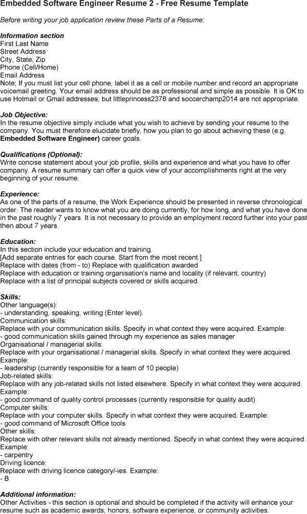 Sample Resume Of Software Engineer Software Developer Free Resume