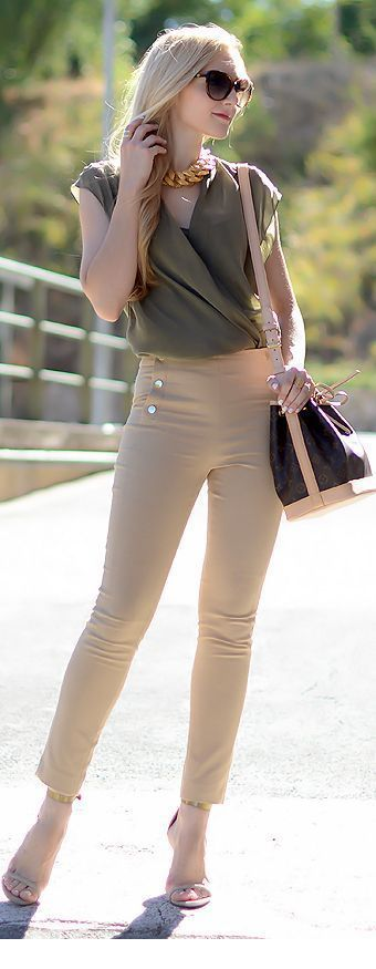 Olive top and beige pants