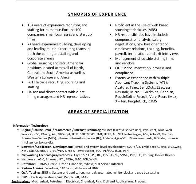 entry level recruiter resume 165 resume sample corporate
