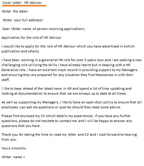 cover letter for human resources