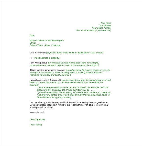 Sample complaint letter to landlord for repairs letternew complaint letter to landlord template kairo 9terrains co maxwellsz