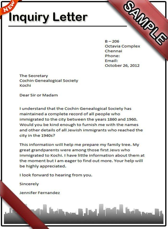 job enquiry letter sample