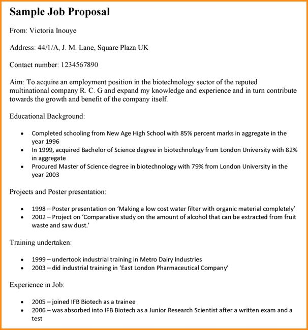 Job Proposal Samples Sample Job Proposal Template 6 Free - work proposal
