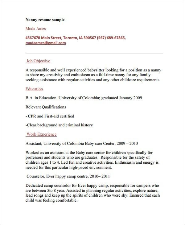 Nanny Resumes Examples Unforgettable Full Time Nanny Resume