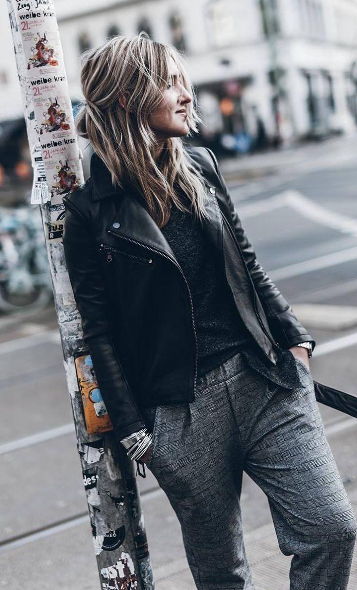 stylish look | black high neck top + moto jacket + grey pants