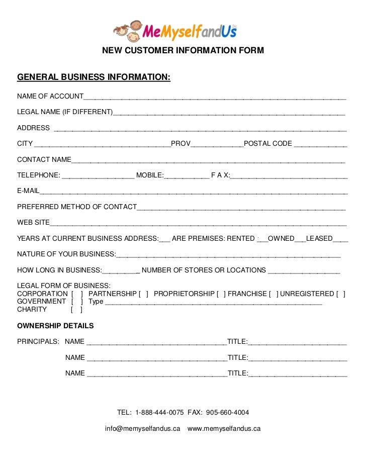 New Customer Information Form Template Ms Word Customer - information sheet template word