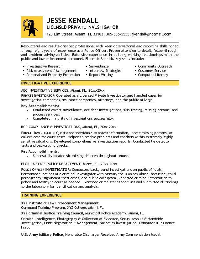 Criminal Investigator Resume] Professional Detective And ...