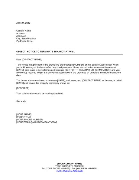 Lease Termination Letter Landlord To Tenant Sample Landlord Lease - lease termination letter example