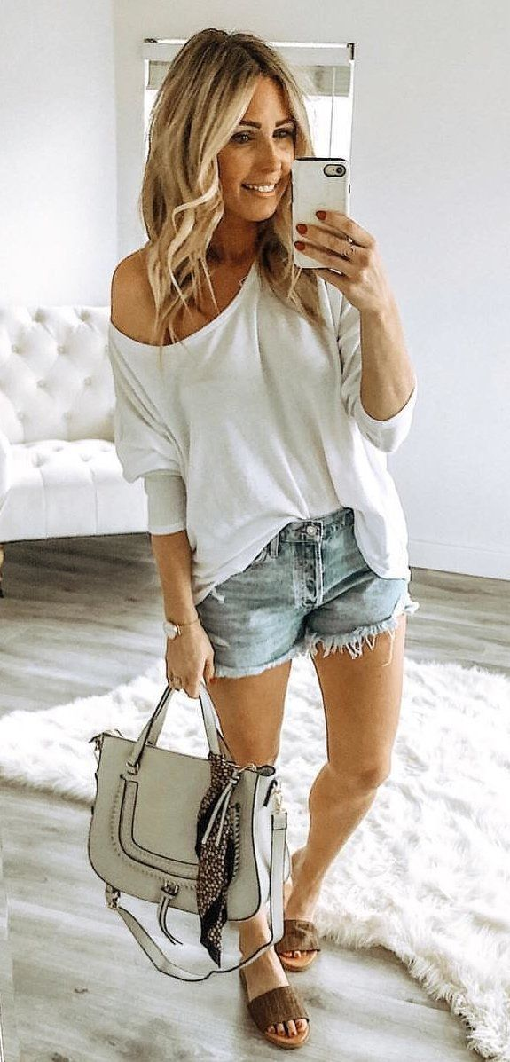 white elbow-sleeved shirt #spring #outfits