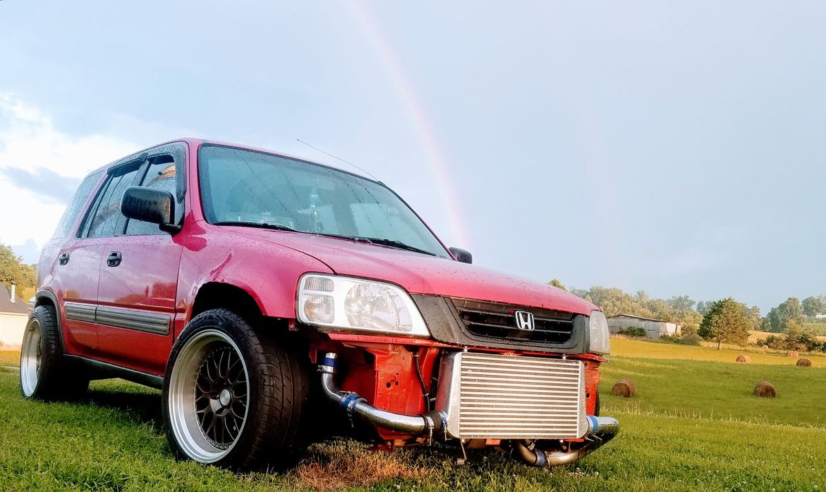 Crv turbo boosted boost awd b20 5spd lowered stanced red