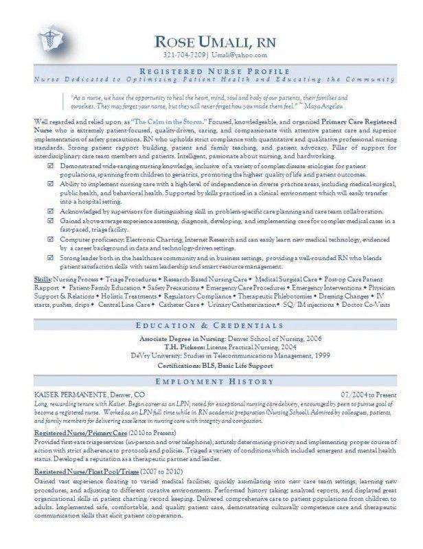Icu Nurse Resume Example - Examples of Resumes