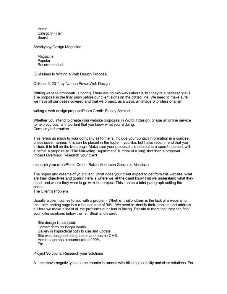 Proposal Design Examples Sample Project Proposal Design Document - website proposal template