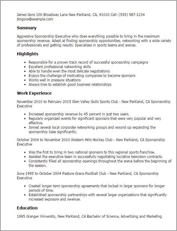 Sponsorship Resume Template Download Fishing Resume - sports resume template