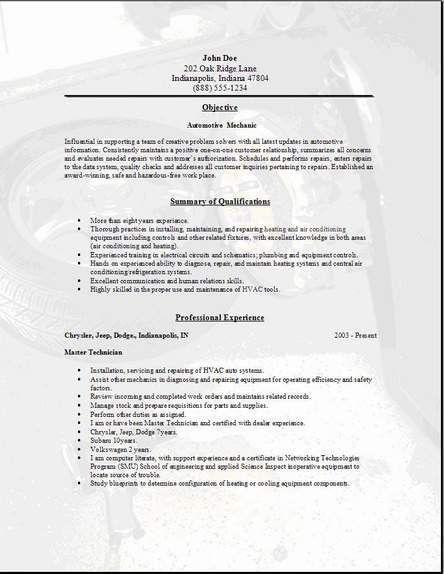 Auto Mechanic Job Description Resume. Auto Technician Job