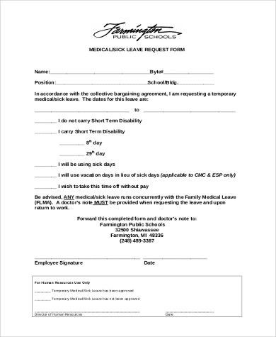 Leave Request Form Sample Sample Leave Request Form 8 Examples In - medical leave form