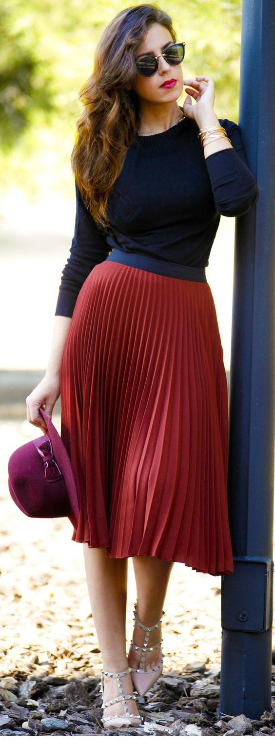 Red skirt and pink hat