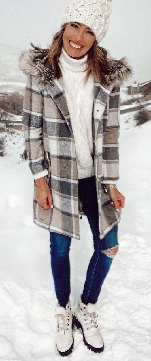 gray and brown plaid parka coat