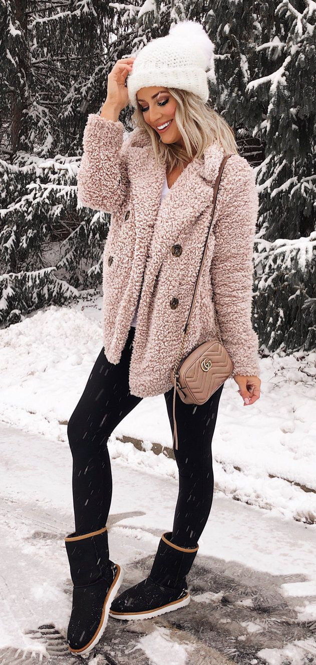 pink and white floral long sleeve dress #winter #outfits
