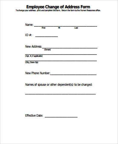 Sample Change Of Address Form Change Of Address Form A To Z Free - sample form