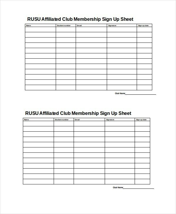 Sign Up Sheet   9+ Free PDF, Word Documents Download | Free .  Club Sign Up Sheet Template