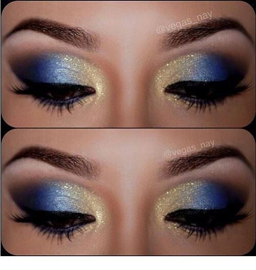 Glam blue and yellow eye makeup with glitter