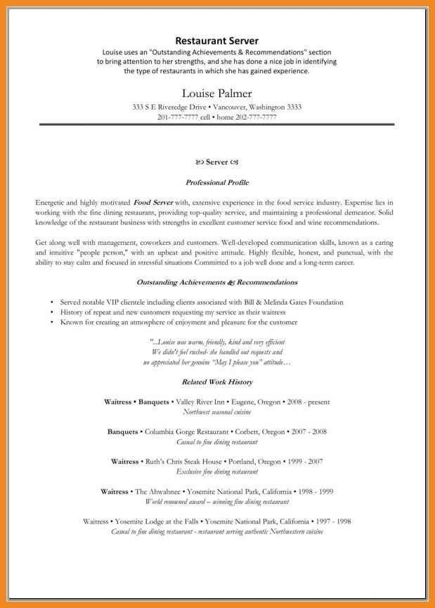 fine dining resume example