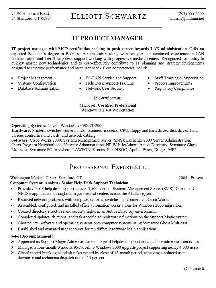 help desk support resume