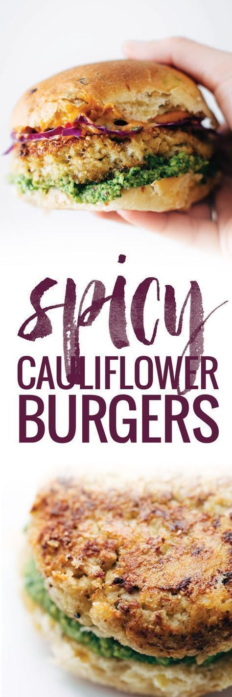 Recipe for Spicy Cauliflower Burgers with avocado sauce, cilantro lime slaw, and chipotle mayo! Meatless and delicious. #burger #cauliflower #meatless #vegetarian | pinchofyum.com