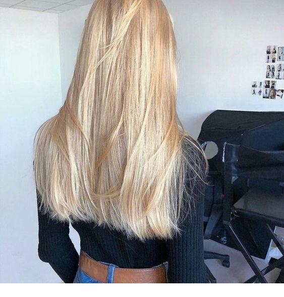 Sandy long blonde hair