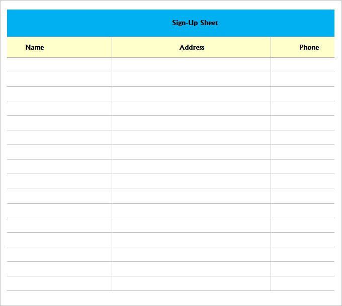 sign in sheet template excel