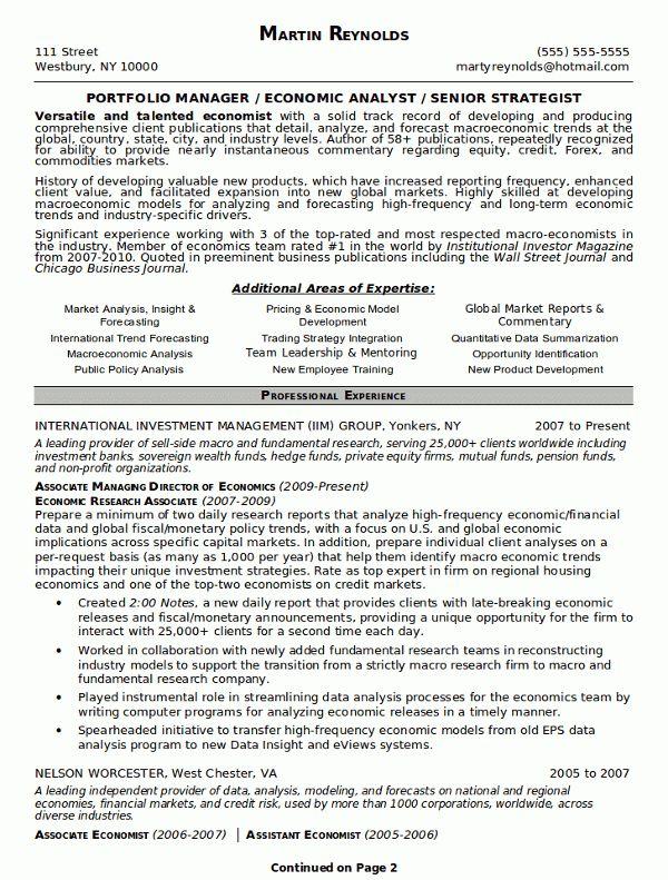 Portfolio Resume Examples - Examples of Resumes - assistant portfolio manager resume