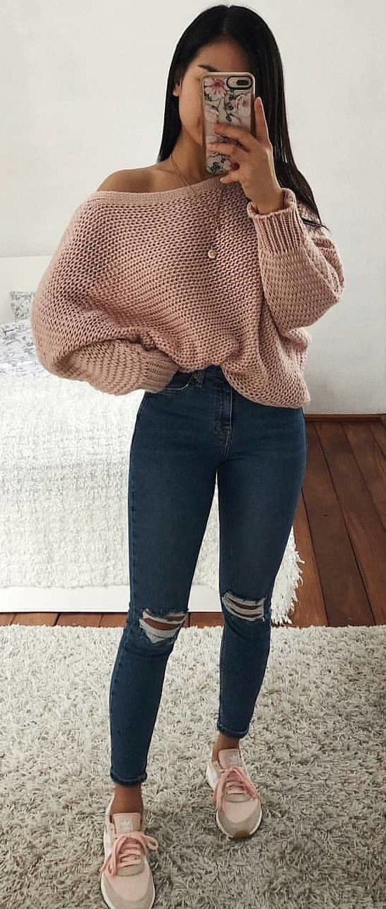 pink knit long-sleeved shirt #spring #outfits