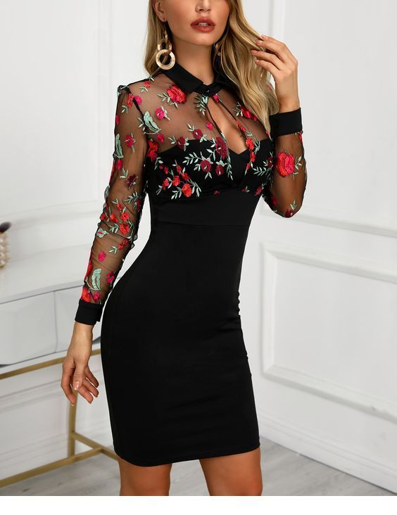 Black dress with roses