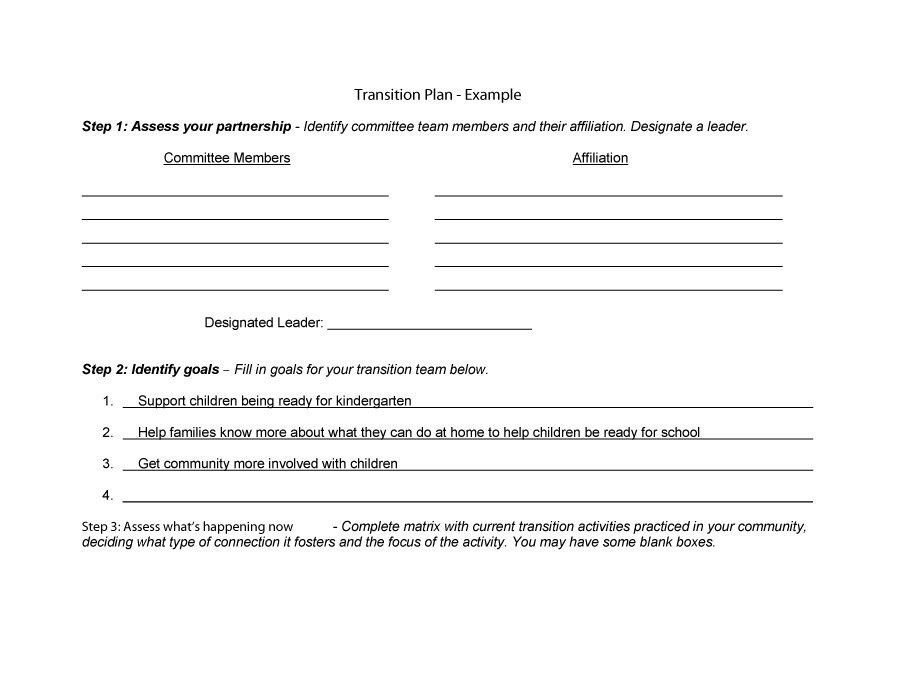 Transition plan template free word excel pdf documents - transition plan template