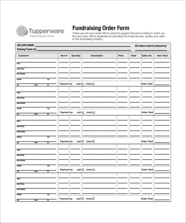 Order Form Template   23+ Download Free Documents In PDF, Word,Excel  Fundraising Form Template