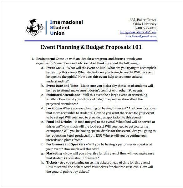 Event Proposal Format Sample Event Proposal Template 21 Free - budget proposal