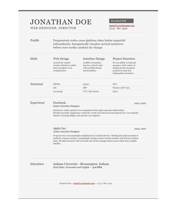 One Page Resumes Examples - Examples of Resumes