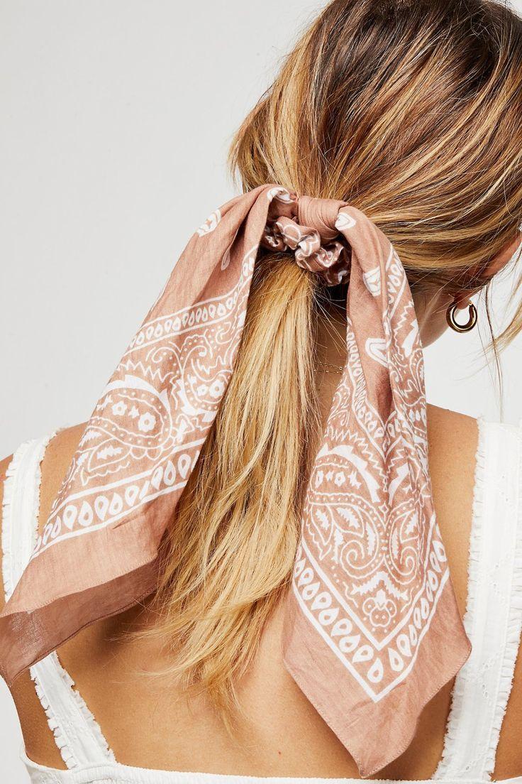 Bandana as hair tie