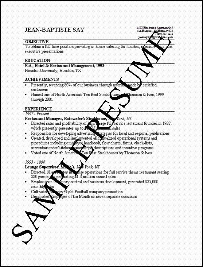 resume with one job