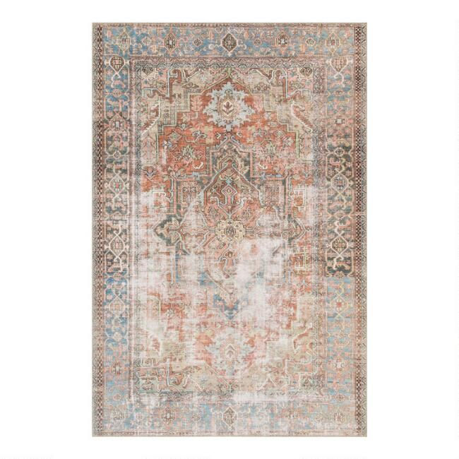 Terracotta and Blue Distressed Primus Area Rug - v1