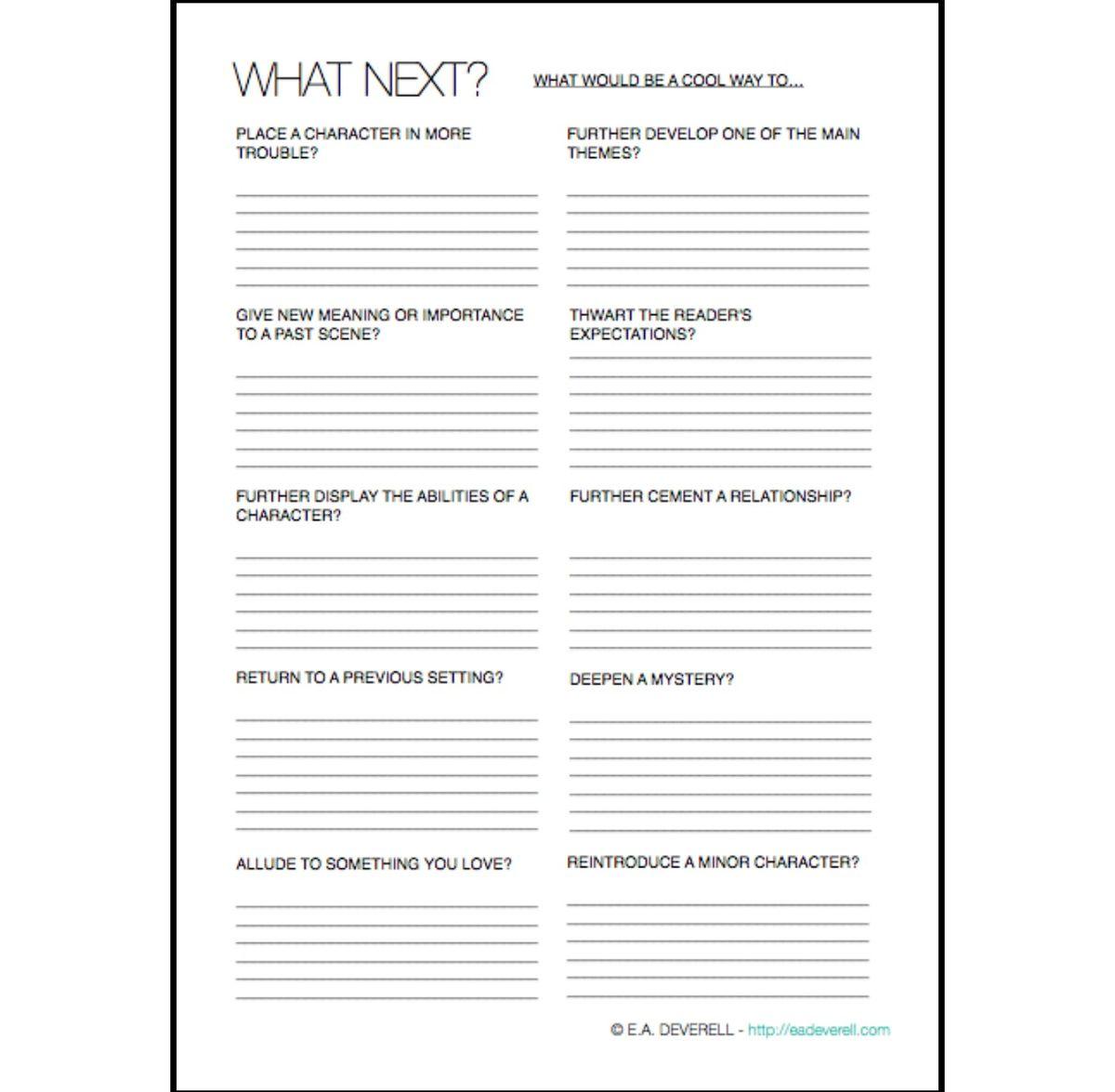 Plan What Happens Next Worksheet