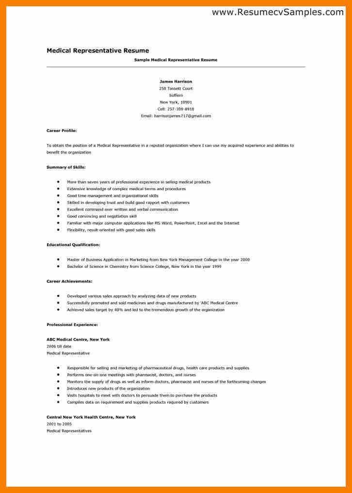 resume medical representative